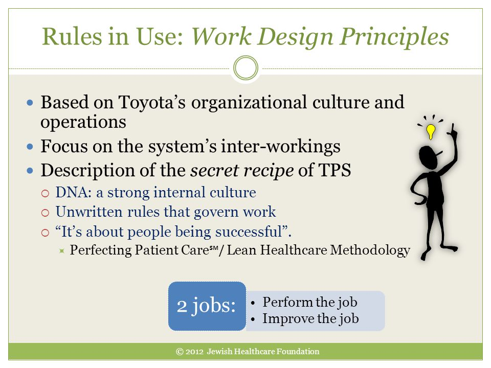 Rules in Use: Work Design Principles Based on Toyota's organizational culture and operations Focus on the system's inter-workings Description of the s