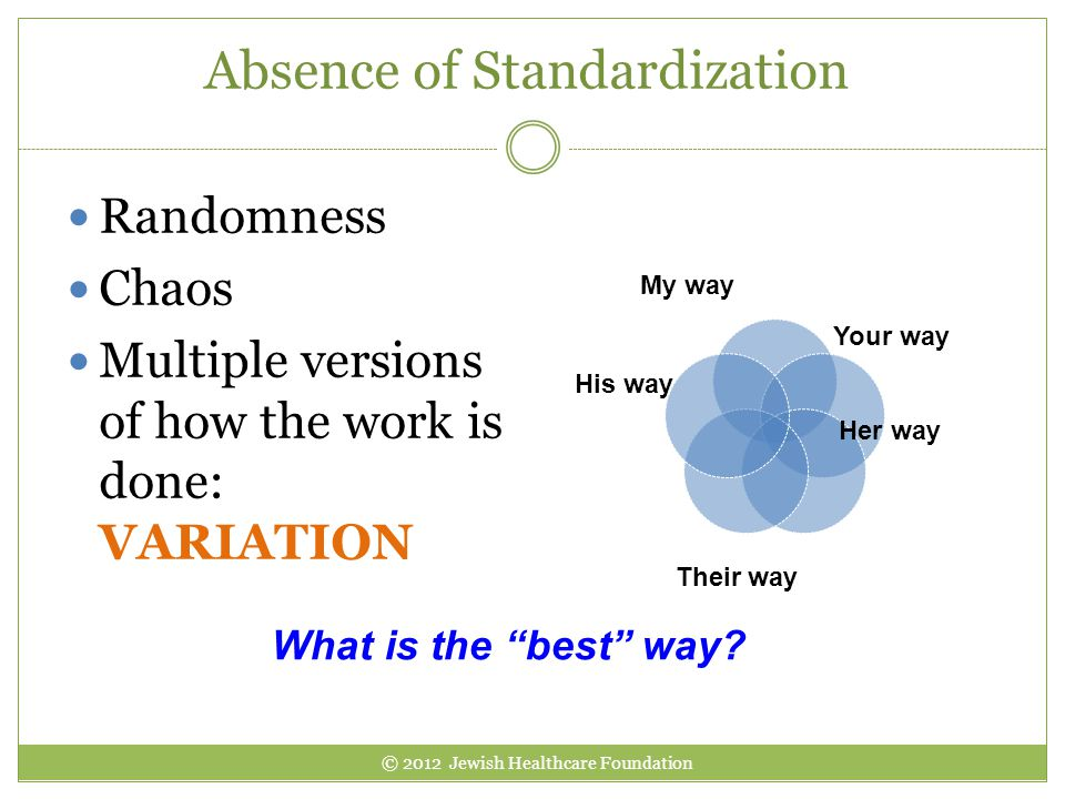 Absence of Standardization Randomness Chaos Multiple versions of how the work is done: VARIATION My way Your way His way Her way Their way What is the best way.
