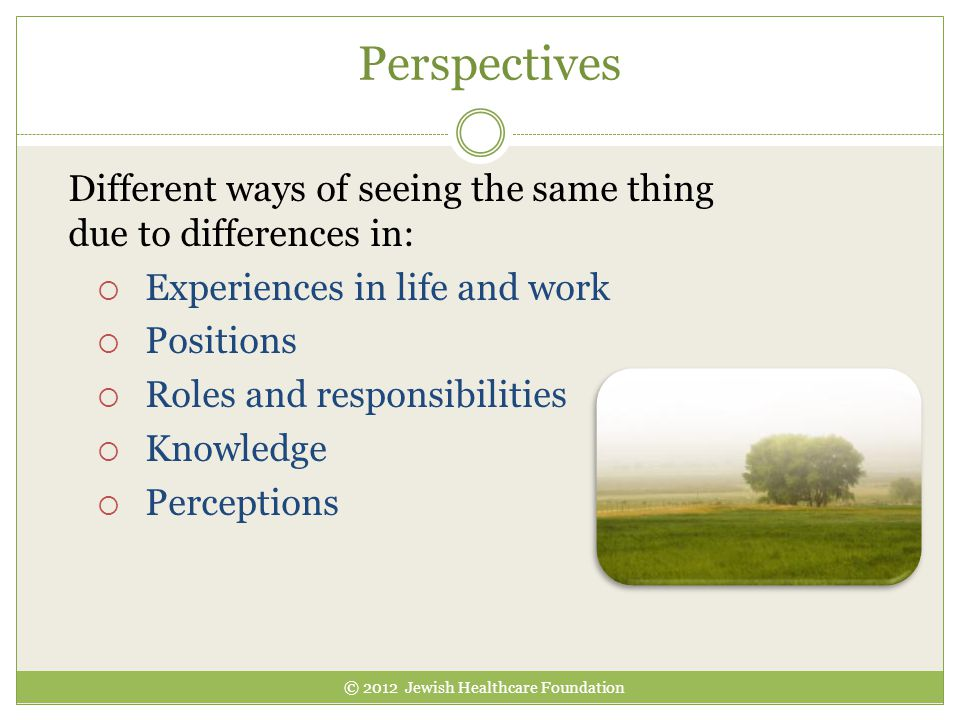 Perspectives Different ways of seeing the same thing due to differences in:  Experiences in life and work  Positions  Roles and responsibilities  Knowledge  Perceptions © 2012 Jewish Healthcare Foundation