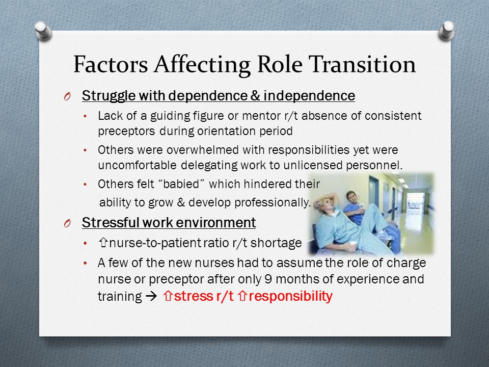 Factors Affecting Role Transition O Struggle with dependence & independence Lack of a guiding figure or mentor r/t absence of consistent preceptors during orientation period Others were overwhelmed with responsibilities yet were uncomfortable delegating work to unlicensed personnel.
