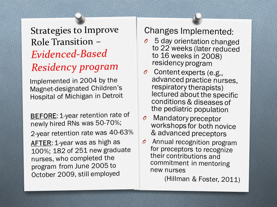 Strategies to Improve Role Transition – Evidenced-Based Residency program Changes Implemented : O 5 day orientation changed to 22 weeks (later reduced to 16 weeks in 2008) residency program O Content experts (e.g., advanced practice nurses, respiratory therapists) lectured about the specific conditions & diseases of the pediatric population O Mandatory preceptor workshops for both novice & advanced preceptors O Annual recognition program for preceptors to recognize their contributions and commitment in mentoring new nurses (Hillman & Foster, 2011) Implemented in 2004 by the Magnet-designated Children's Hospital of Michigan in Detroit BEFORE: 1-year retention rate of newly hired RNs was 50-70%; 2-year retention rate was 40-63% AFTER: 1-year was as high as 100%; 182 of 251 new graduate nurses, who completed the program from June 2005 to October 2009, still employed