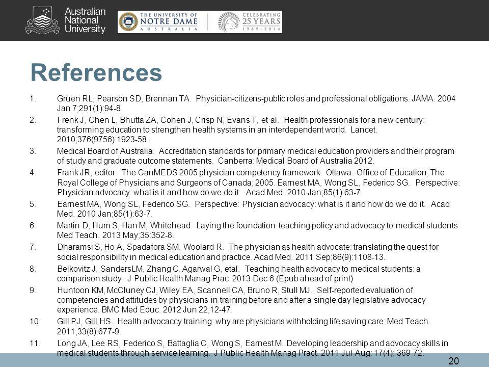 References 1.Gruen RL, Pearson SD, Brennan TA.