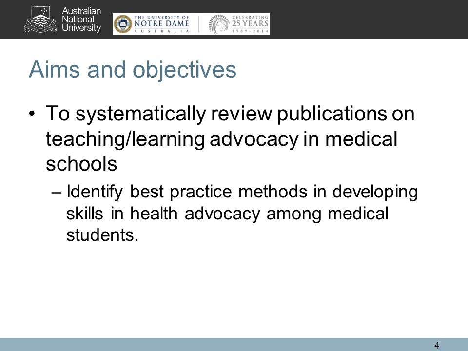 Aims and objectives To systematically review publications on teaching/learning advocacy in medical schools –Identify best practice methods in developing skills in health advocacy among medical students.