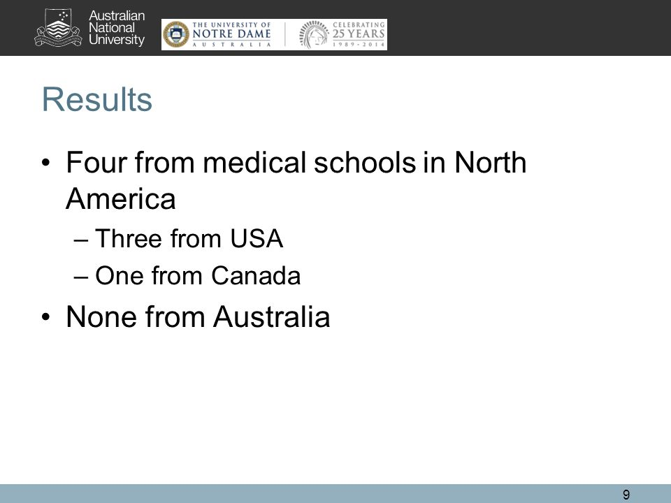Results Four from medical schools in North America –Three from USA –One from Canada None from Australia 9