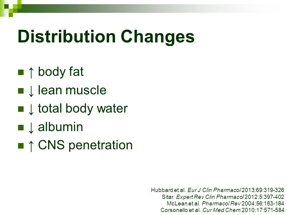 Distribution Changes ↑ body fat ↓ lean muscle ↓ total body water ↓ albumin ↑ CNS penetration Hubbard et al. Eur J Clin Pharmacol 2013;69:319-326 Sitar