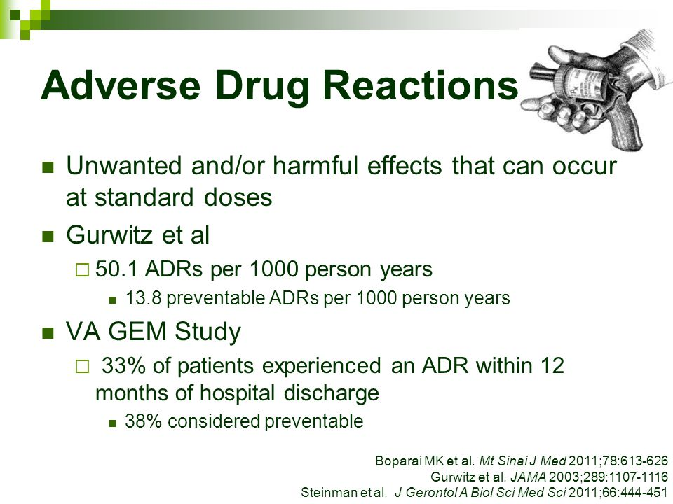 Adverse Drug Reactions Unwanted and/or harmful effects that can occur at standard doses Gurwitz et al  50.1 ADRs per 1000 person years 13.8 preventab
