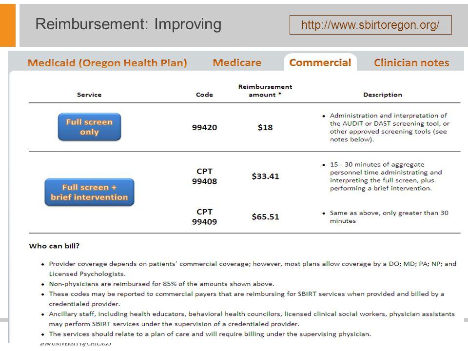 Reimbursement: Improving http://www.sbirtoregon.org/
