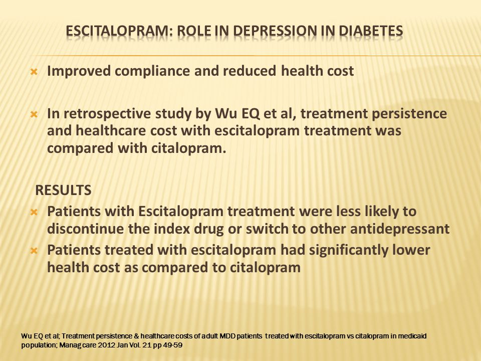  Gehlawat P et al studied the effect of escitalopram in patients with diabetes and comorbid depression. They also studied the relationship of treamen
