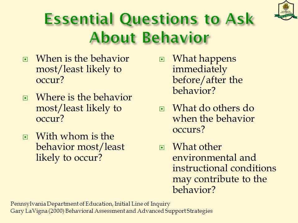  When is the behavior most/least likely to occur.