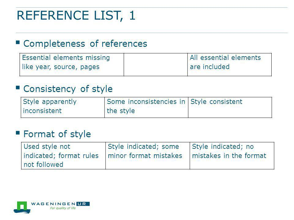 REFERENCE LIST, 1  Completeness of references  Consistency of style  Format of style Essential elements missing like year, source, pages All essent