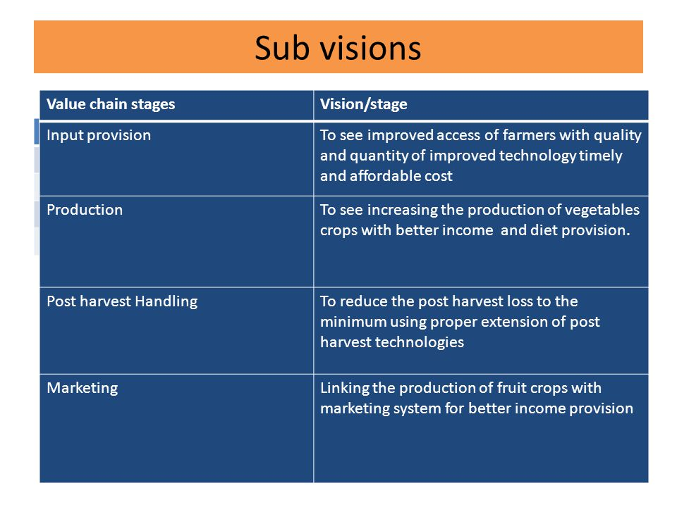 Sub visions Value chain stagesVision/stage Input provisionTo see improved access of farmers with quality and quantity of improved technology timely and affordable cost ProductionTo see increasing the production of vegetables crops with better income and diet provision.