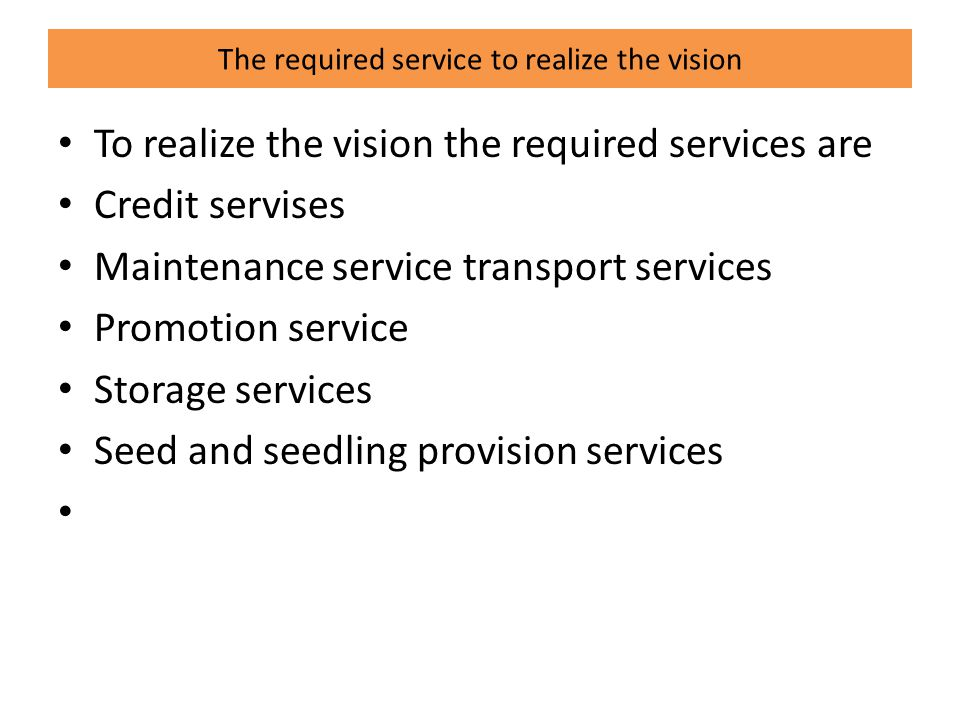 The required service to realize the vision To realize the vision the required services are Credit servises Maintenance service transport services Promotion service Storage services Seed and seedling provision services