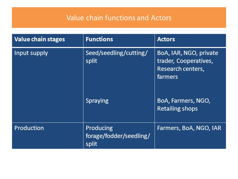 Value chain functions and Actors Value chain stagesFunctionsActors Input supplySeed/seedling/cutting/ split Spraying BoA, IAR, NGO, private trader, Cooperatives, Research centers, farmers BoA, Farmers, NGO, Retailing shops ProductionProducing forage/fodder/seedling/ split Farmers, BoA, NGO, IAR