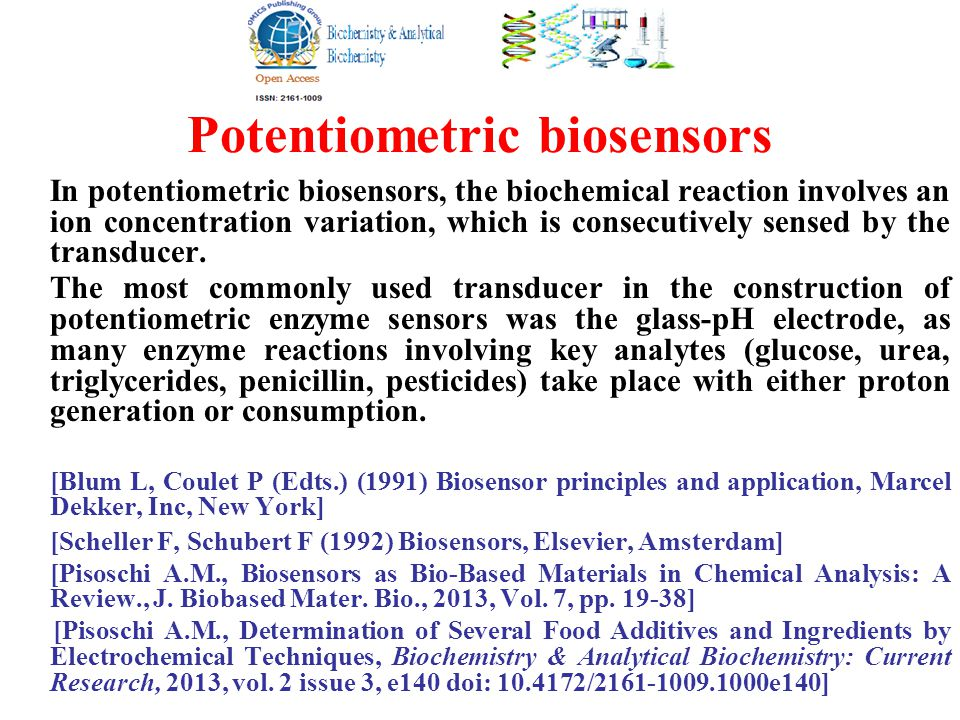 Potentiometric biosensors In potentiometric biosensors, the biochemical reaction involves an ion concentration variation, which is consecutively sensed by the transducer.