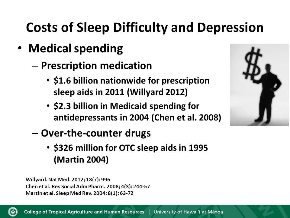 Medical spending – Prescription medication $1.6 billion nationwide for prescription sleep aids in 2011 (Willyard 2012) $2.3 billion in Medicaid spending for antidepressants in 2004 (Chen et al.