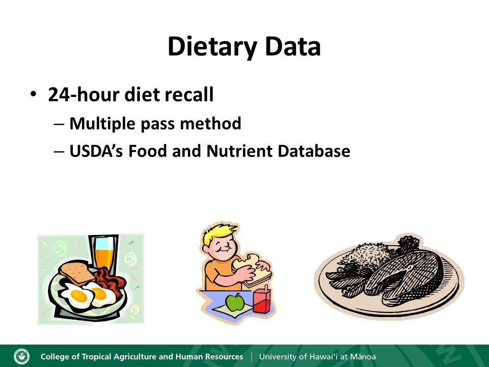Dietary Data 24-hour diet recall – Multiple pass method – USDA's Food and Nutrient Database