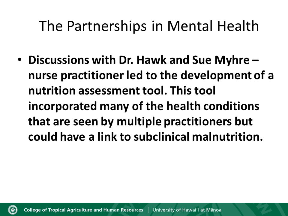 The Partnerships in Mental Health Discussions with Dr.