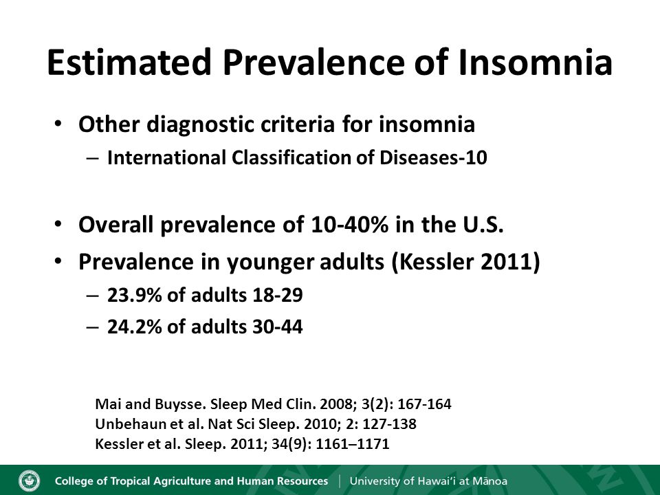 Sleep Difficulty in College Students 38% of students had poor quality sleep (Lund et al.