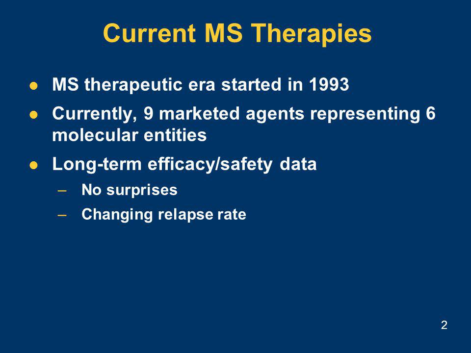 2 Current MS Therapies MS therapeutic era started in 1993 Currently, 9 marketed agents representing 6 molecular entities Long-term efficacy/safety data –No surprises –Changing relapse rate