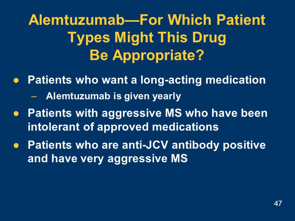 47 Alemtuzumab—For Which Patient Types Might This Drug Be Appropriate.