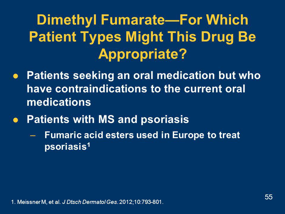55 Dimethyl Fumarate—For Which Patient Types Might This Drug Be Appropriate.