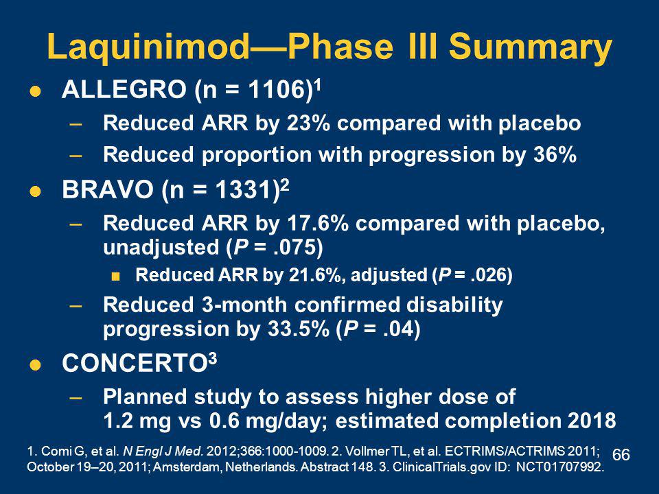 66 Laquinimod—Phase III Summary ALLEGRO (n = 1106) 1 –Reduced ARR by 23% compared with placebo –Reduced proportion with progression by 36% BRAVO (n = 1331) 2 –Reduced ARR by 17.6% compared with placebo, unadjusted (P =.075) Reduced ARR by 21.6%, adjusted (P =.026) –Reduced 3-month confirmed disability progression by 33.5% (P =.04) CONCERTO 3 –Planned study to assess higher dose of 1.2 mg vs 0.6 mg/day; estimated completion 2018 1.