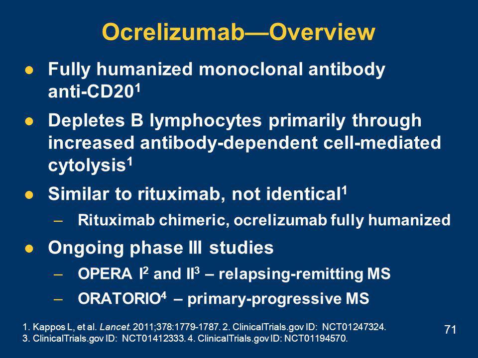 71 Ocrelizumab—Overview 1. Kappos L, et al. Lancet.