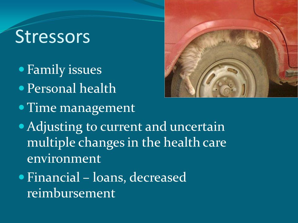 Stressors Family issues Personal health Time management Adjusting to current and uncertain multiple changes in the health care environment Financial – loans, decreased reimbursement