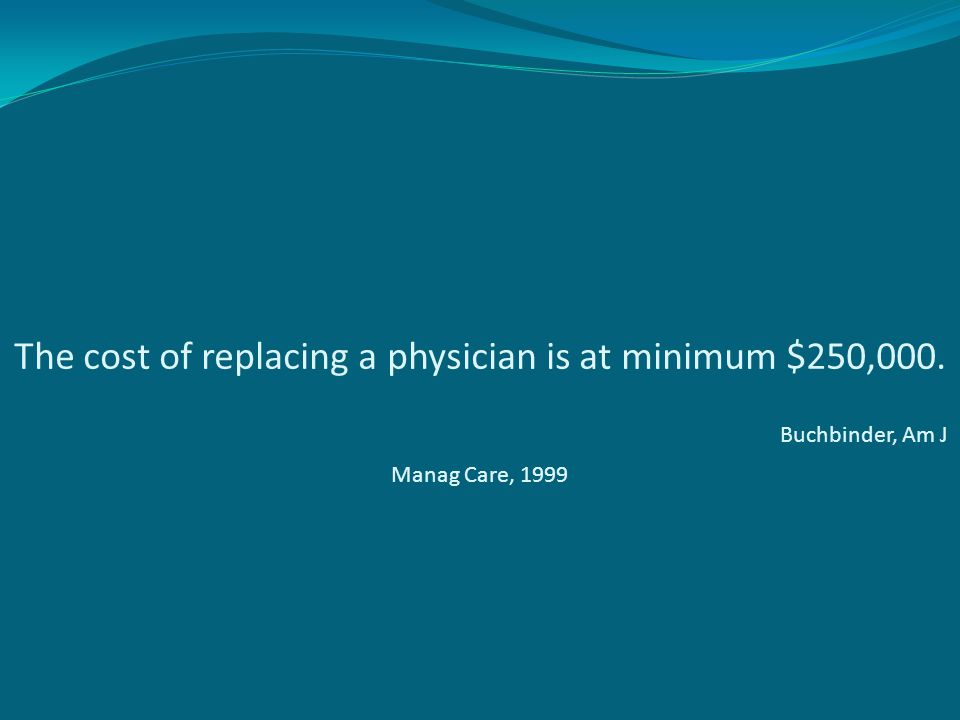 The cost of replacing a physician is at minimum $250,000. Buchbinder, Am J Manag Care, 1999