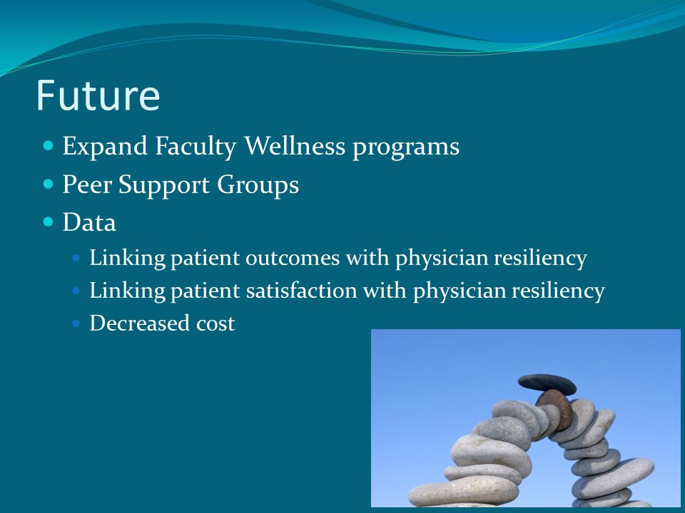 Future Expand Faculty Wellness programs Peer Support Groups Data Linking patient outcomes with physician resiliency Linking patient satisfaction with physician resiliency Decreased cost