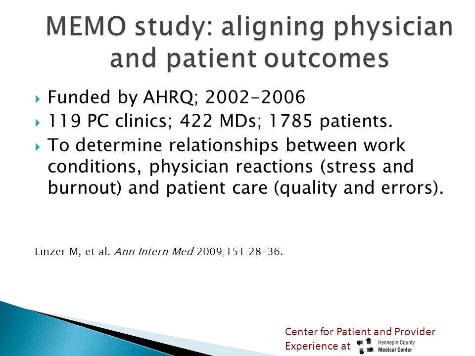  Funded by AHRQ; 2002-2006  119 PC clinics; 422 MDs; 1785 patients.