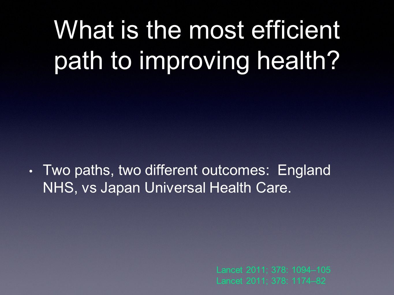 What is the most efficient path to improving health.
