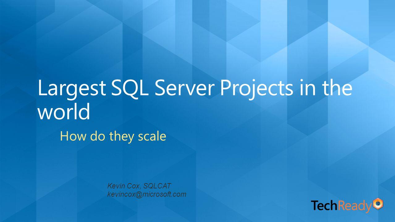 Kevin Cox, SQLCAT kevincox@microsoft.com