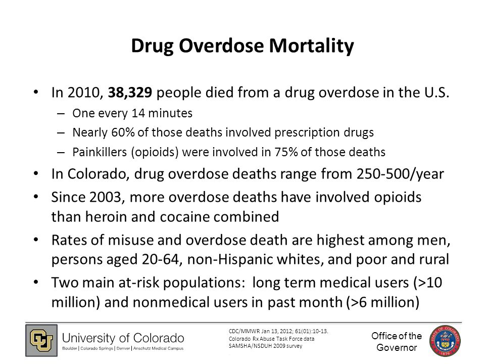 Office of the Governor Drug Overdose Mortality In 2010, 38,329 people died from a drug overdose in the U.S.