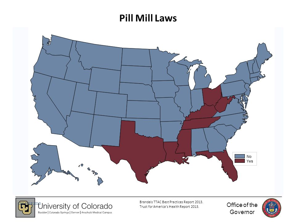 Office of the Governor 42 Pill Mill Laws CDC PHLP 2013 Brandeis TTAC Best Practices Report 2013.