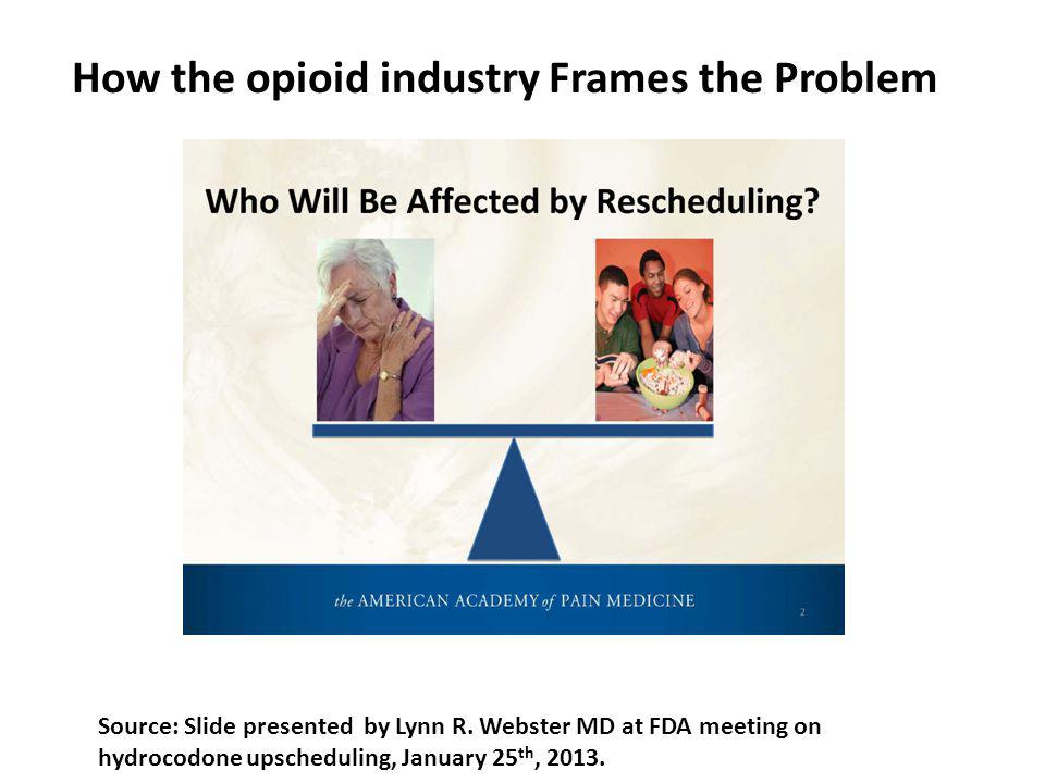 How the opioid industry Frames the Problem Source: Slide presented by Lynn R. Webster MD at FDA meeting on hydrocodone upscheduling, January 25 th, 20