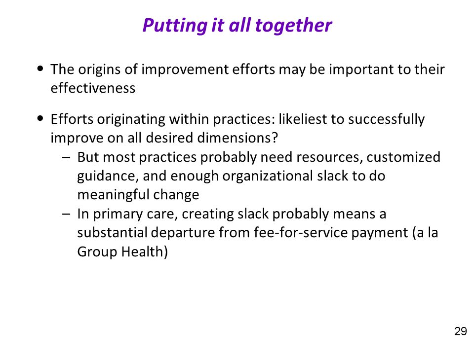 The origins of improvement efforts may be important to their effectiveness Efforts originating within practices: likeliest to successfully improve on