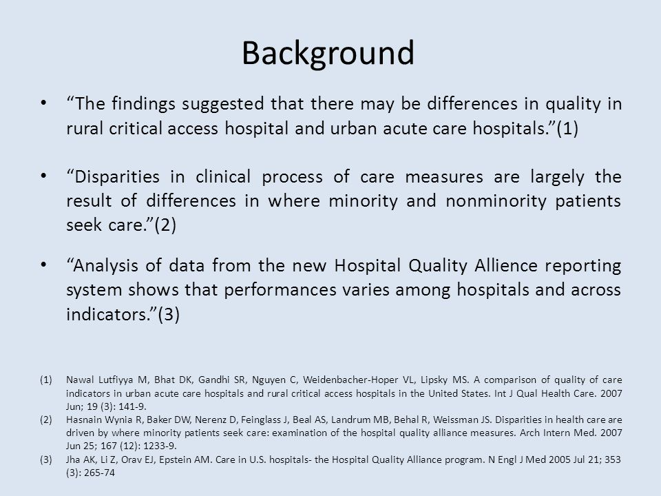 "Background ""The findings suggested that there may be differences in quality in rural critical access hospital and urban acute care hospitals.""(1) ""Dis"