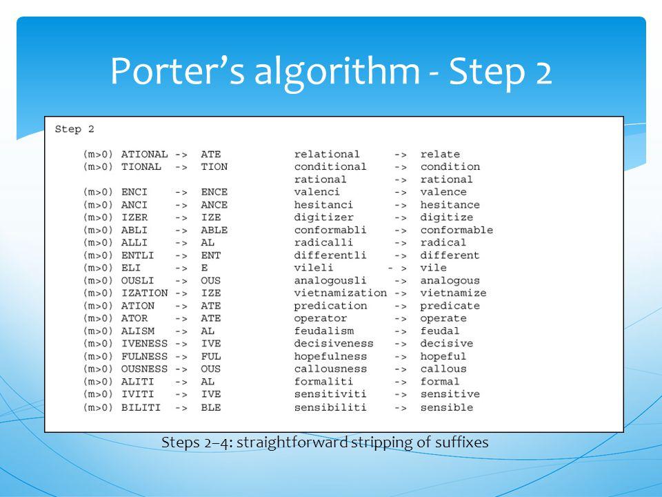 Porter's algorithm Step 1 Step 1: plurals and past participles