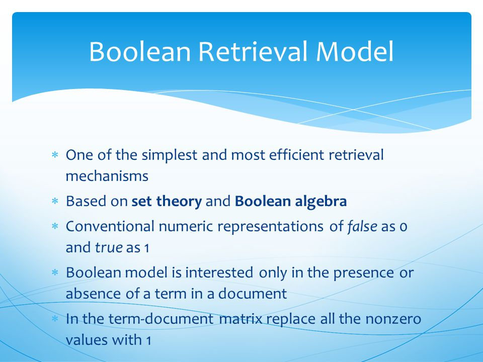 Retrieval models match query with documents to:  separate documents into relevant and non-relevant class  rank the documents according to the releva