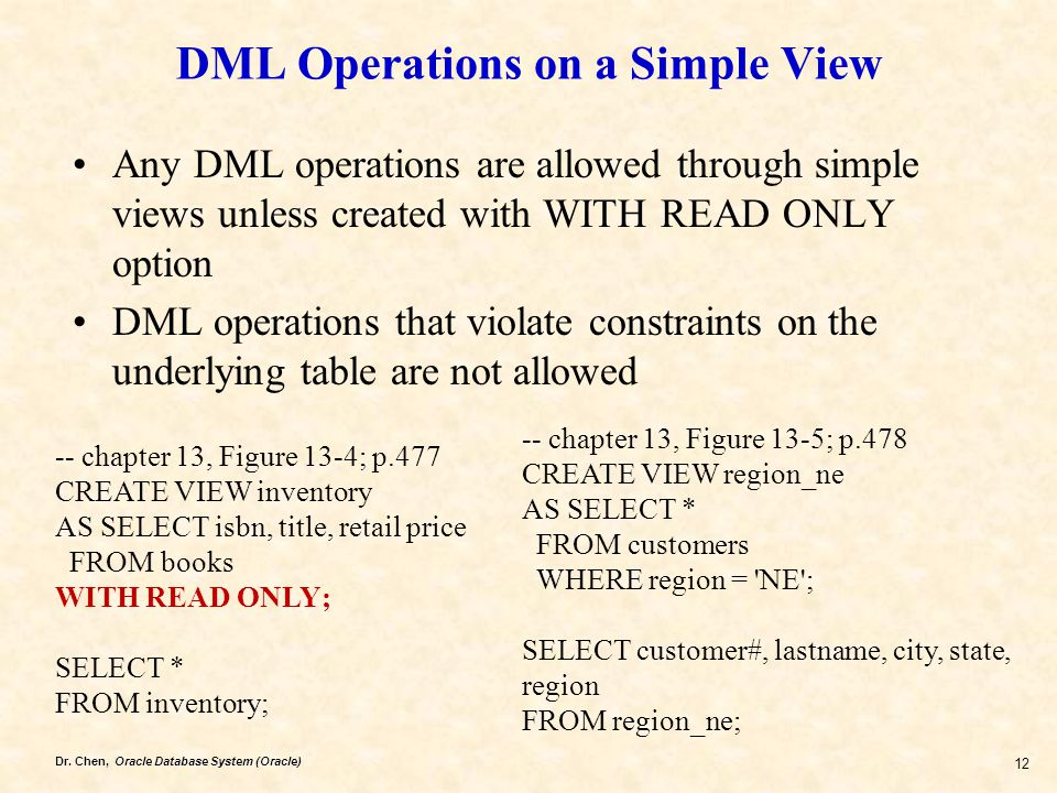 Dr. Chen, Oracle Database System (Oracle) 12 DML Operations on a Simple View Any DML operations are allowed through simple views unless created with W