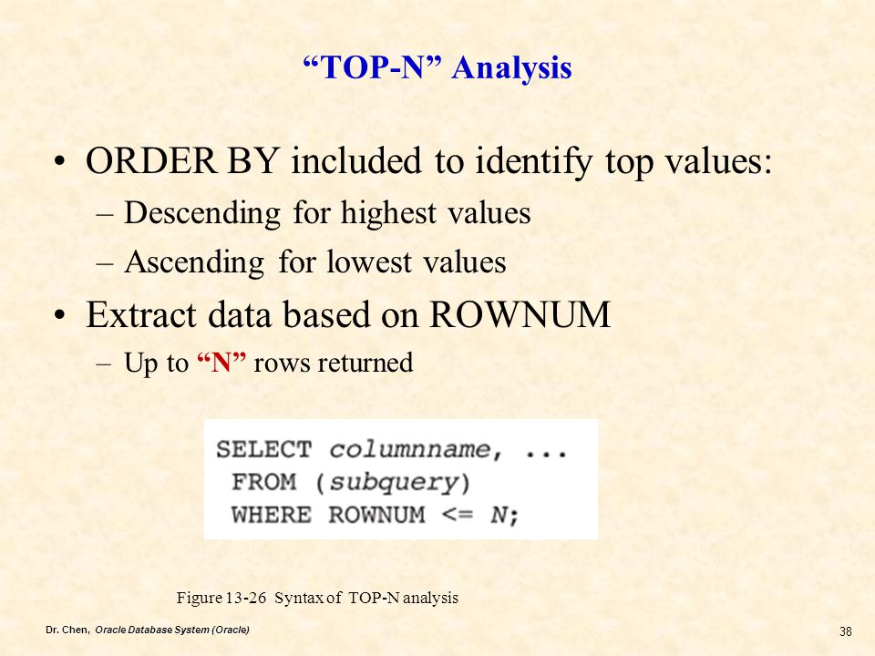 "Dr. Chen, Oracle Database System (Oracle) 38 ""TOP-N"" Analysis ORDER BY included to identify top values: –Descending for highest values –Ascending for"