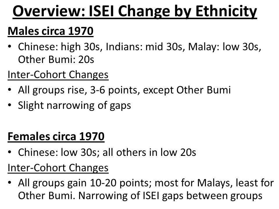 Overview: ISEI Change by Ethnicity Males circa 1970 Chinese: high 30s, Indians: mid 30s, Malay: low 30s, Other Bumi: 20s Inter-Cohort Changes All groups rise, 3-6 points, except Other Bumi Slight narrowing of gaps Females circa 1970 Chinese: low 30s; all others in low 20s Inter-Cohort Changes All groups gain 10-20 points; most for Malays, least for Other Bumi.