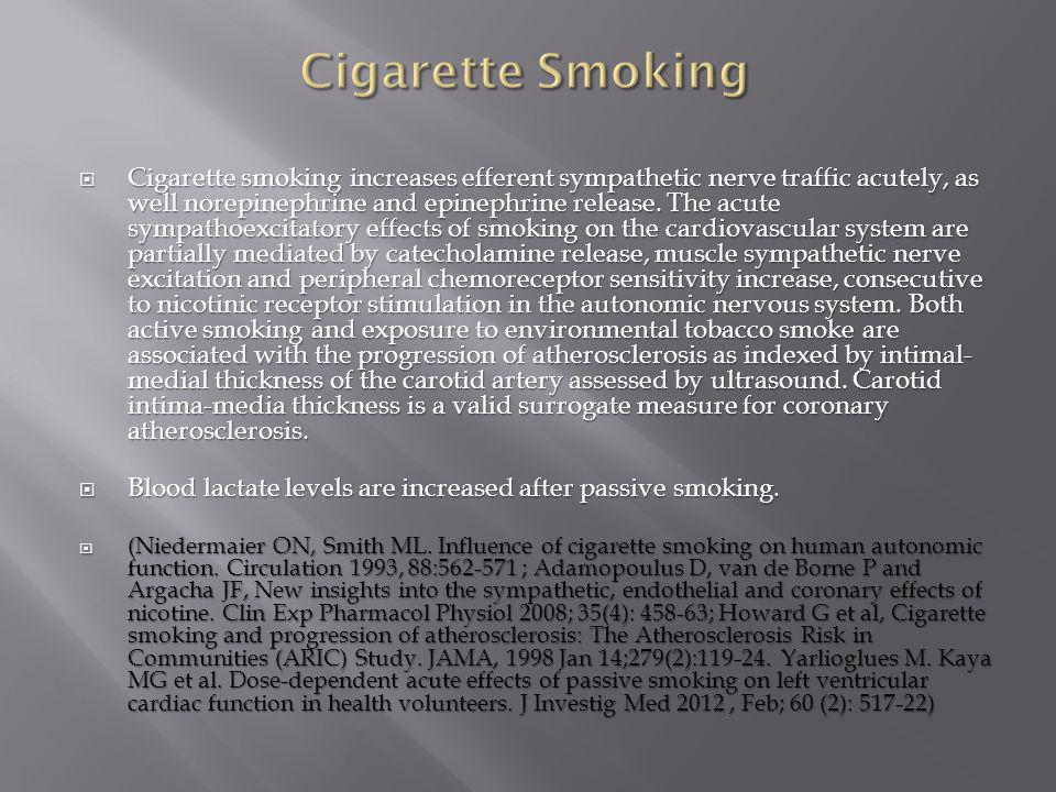  Cigarette smoking increases efferent sympathetic nerve traffic acutely, as well norepinephrine and epinephrine release. The acute sympathoexcitatory