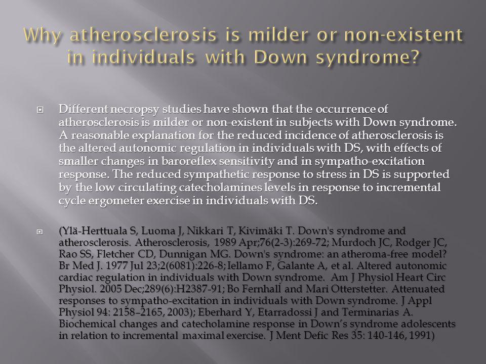  Different necropsy studies have shown that the occurrence of atherosclerosis is milder or non-existent in subjects with Down syndrome. A reasonable