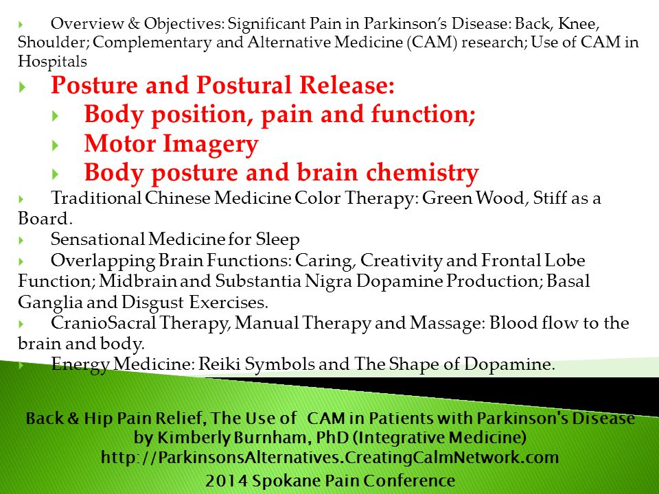  Overview & Objectives: Significant Pain in Parkinson's Disease: Back, Knee, Shoulder; Complementary and Alternative Medicine (CAM) research; Use of