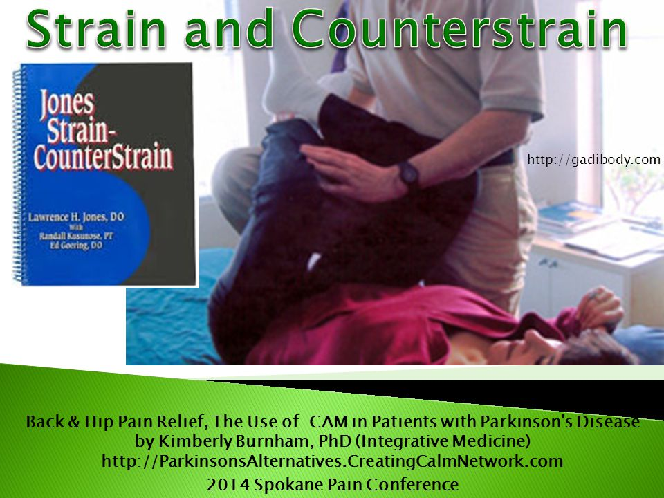 Back & Hip Pain Relief, The Use of CAM in Patients with Parkinson s Disease by Kimberly Burnham, PhD (Integrative Medicine) http://ParkinsonsAlternatives.CreatingCalmNetwork.com 2014 Spokane Pain Conference http://gadibody.com