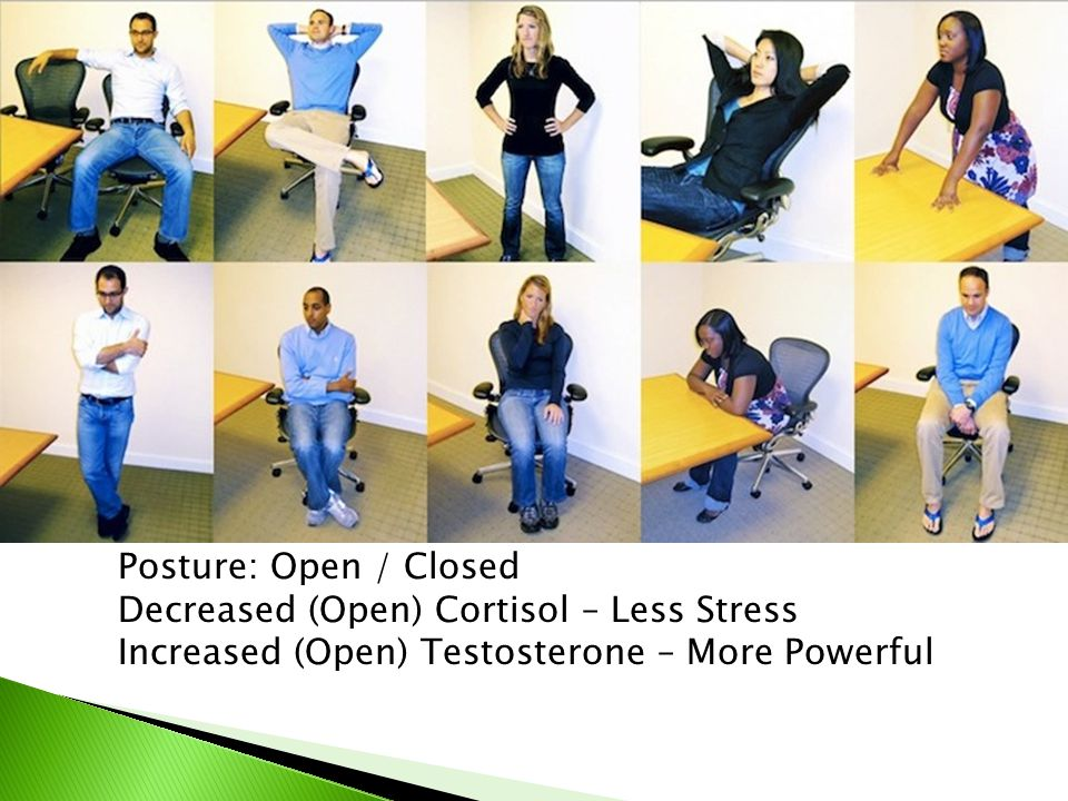 Posture: Open / Closed Decreased (Open) Cortisol – Less Stress Increased (Open) Testosterone – More Powerful