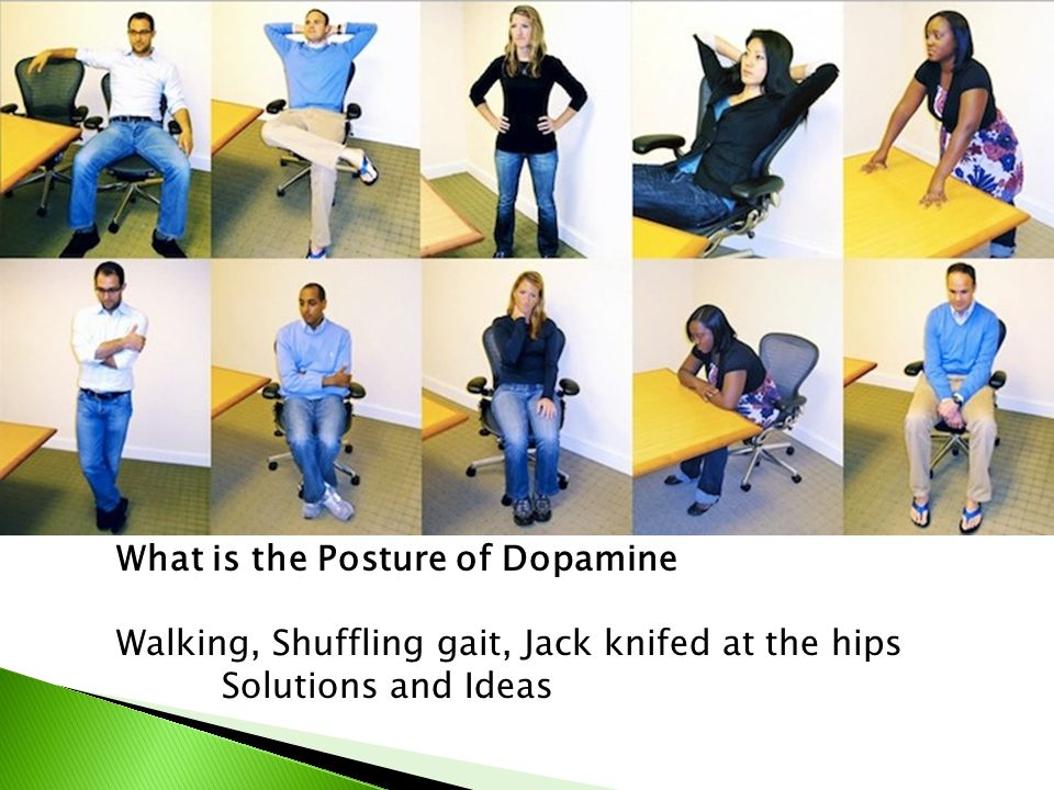 What is the Posture of Dopamine Walking, Shuffling gait, Jack knifed at the hips Solutions and Ideas