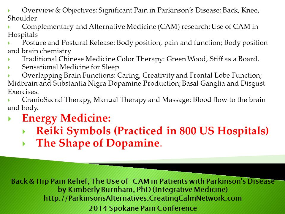  Overview & Objectives: Significant Pain in Parkinson's Disease: Back, Knee, Shoulder  Complementary and Alternative Medicine (CAM) research; Use of CAM in Hospitals  Posture and Postural Release: Body position, pain and function; Body position and brain chemistry  Traditional Chinese Medicine Color Therapy: Green Wood, Stiff as a Board.
